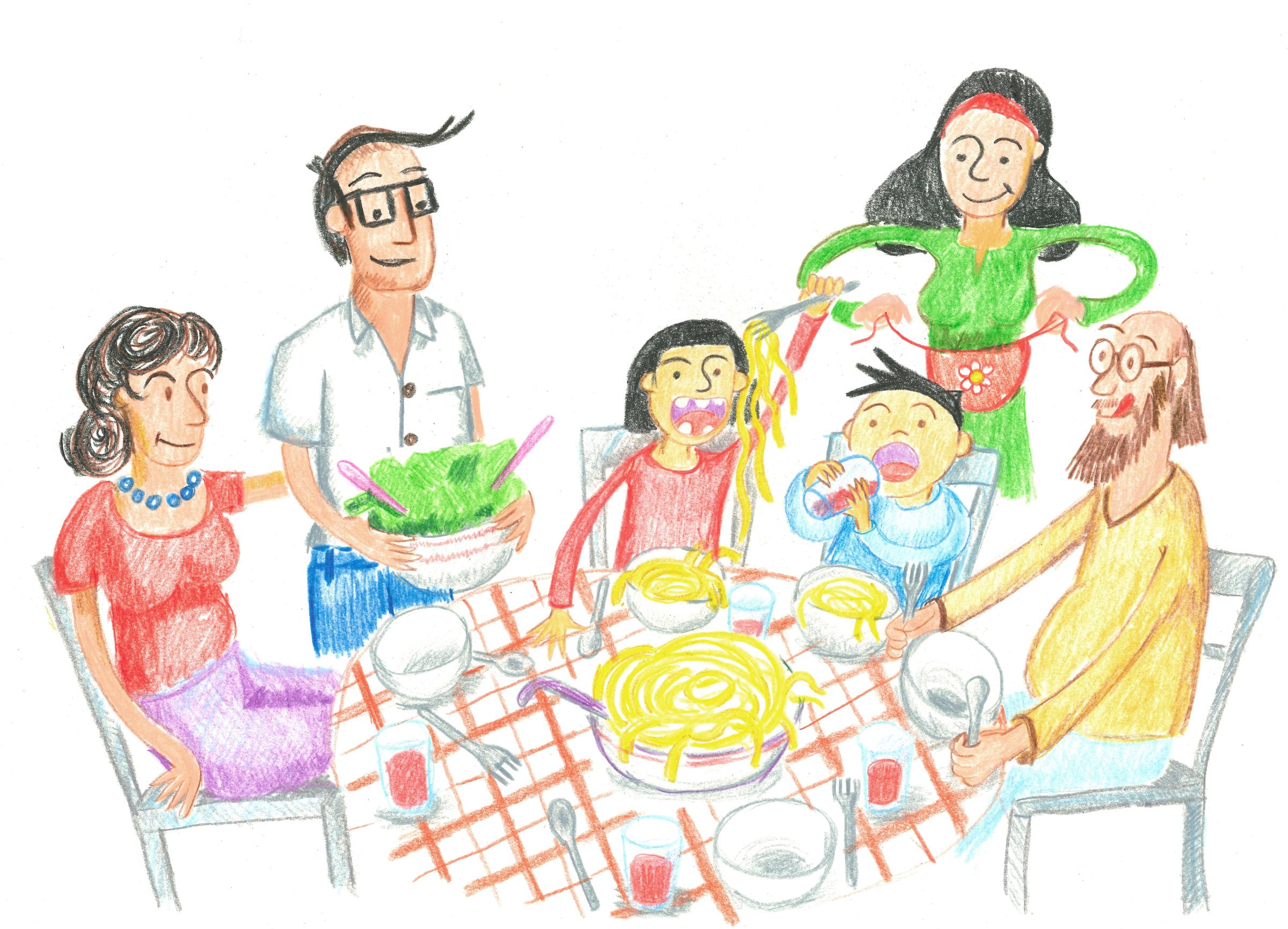 Familie isst gemeinsam – Illustration Wir Lesen Familie Kinderfreunde Oberösterreich © Martin Bruner Sombrero Design