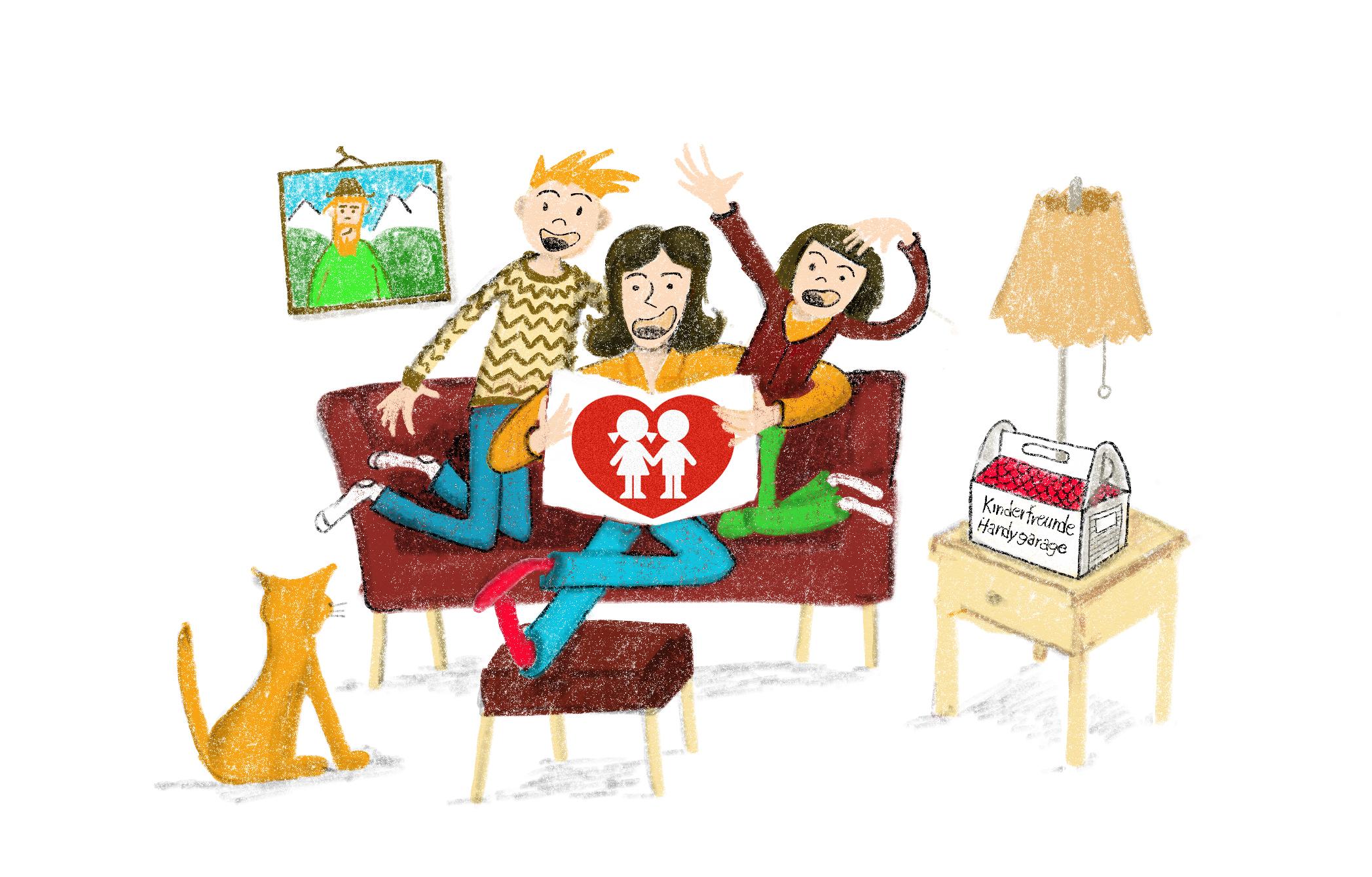 Die Familie ließt – Illustration Wir Lesen Familie Kinderfreunde Oberösterreich © Martin Bruner Sombrero Design