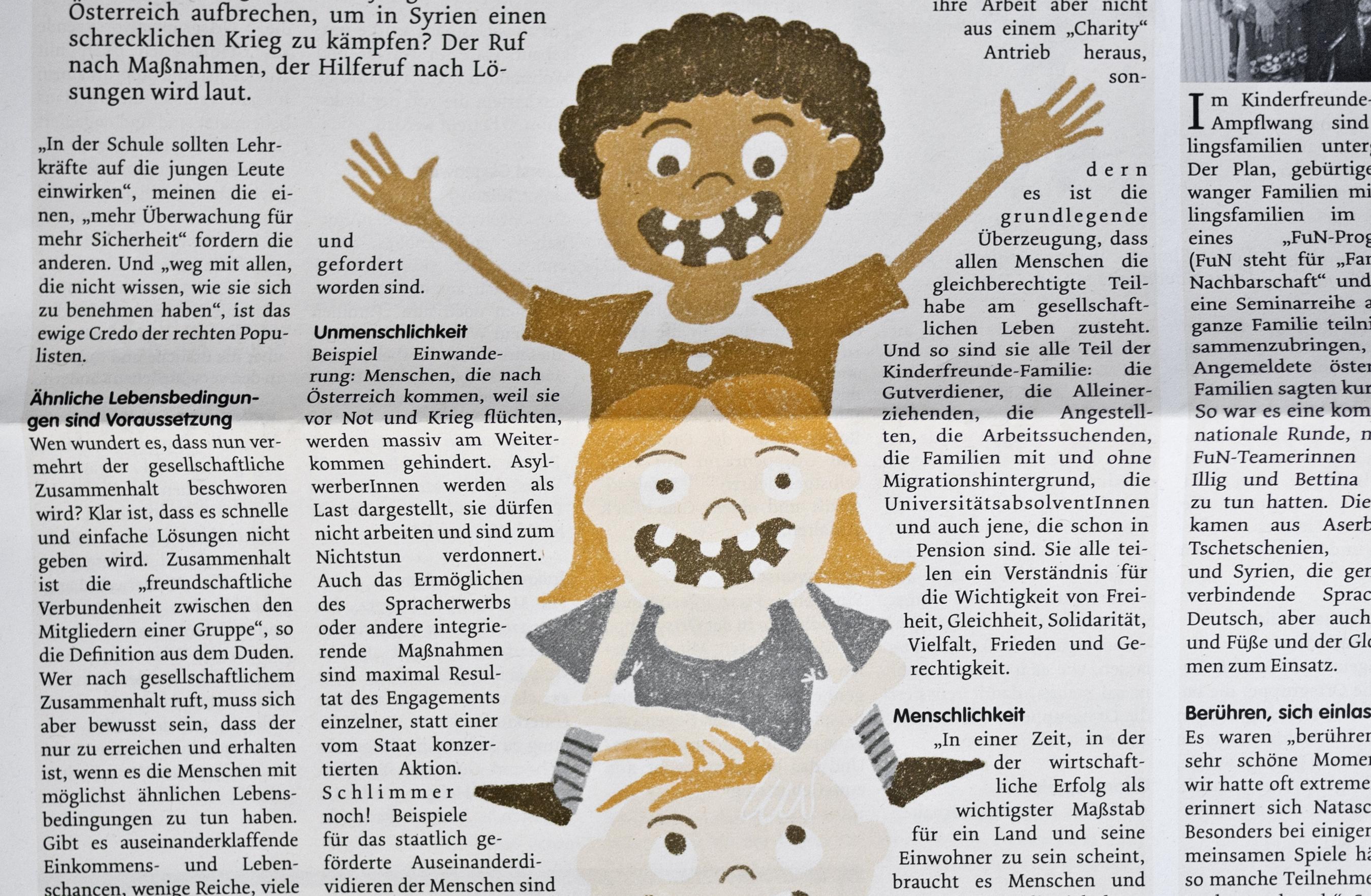 Kinderturm – Zeitungs Illustration Kinderfreunde Oberösterreich © Martin Bruner Sombrero Design