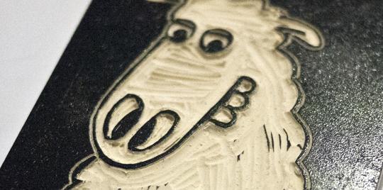 Erwin das Schaf – Linol – Illustration © Martin Bruner Sombrero Design
