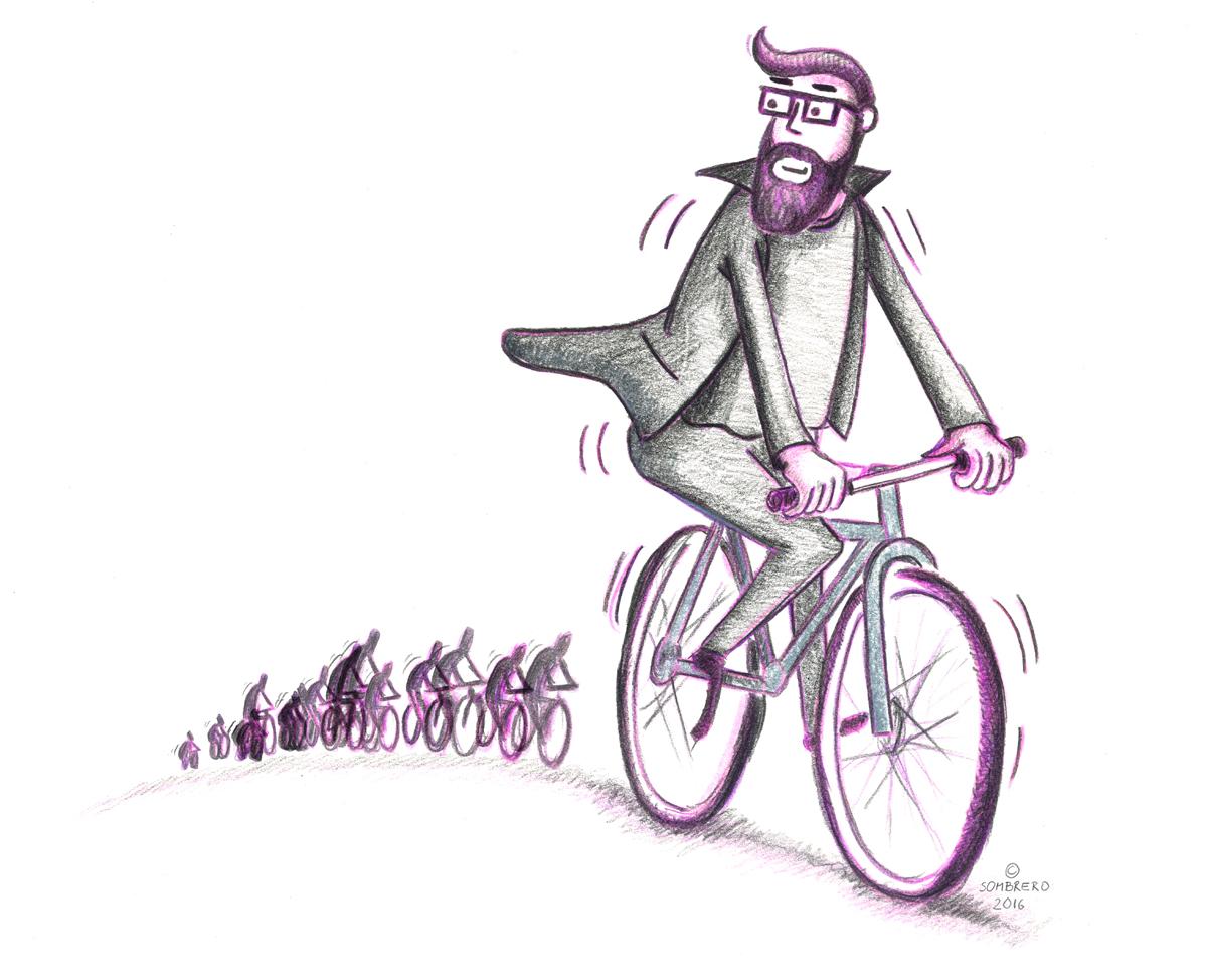 Magnus am Rad – Illustration © Martin Bruner Sombrero Design