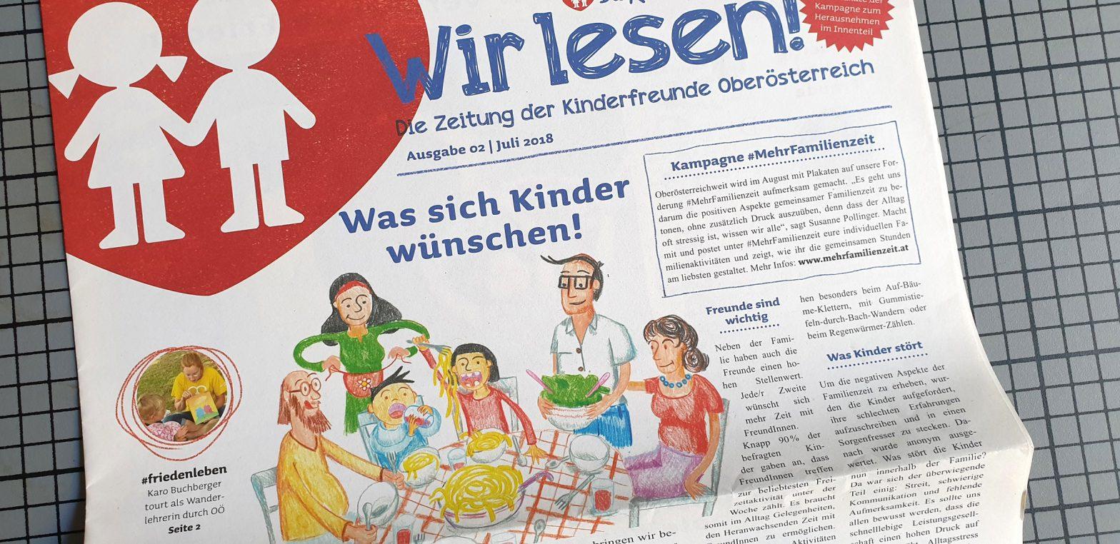 Titel Illustration Wir Lesen Familie Kinderfreunde Oberösterreich © Martin Bruner Sombrero Design