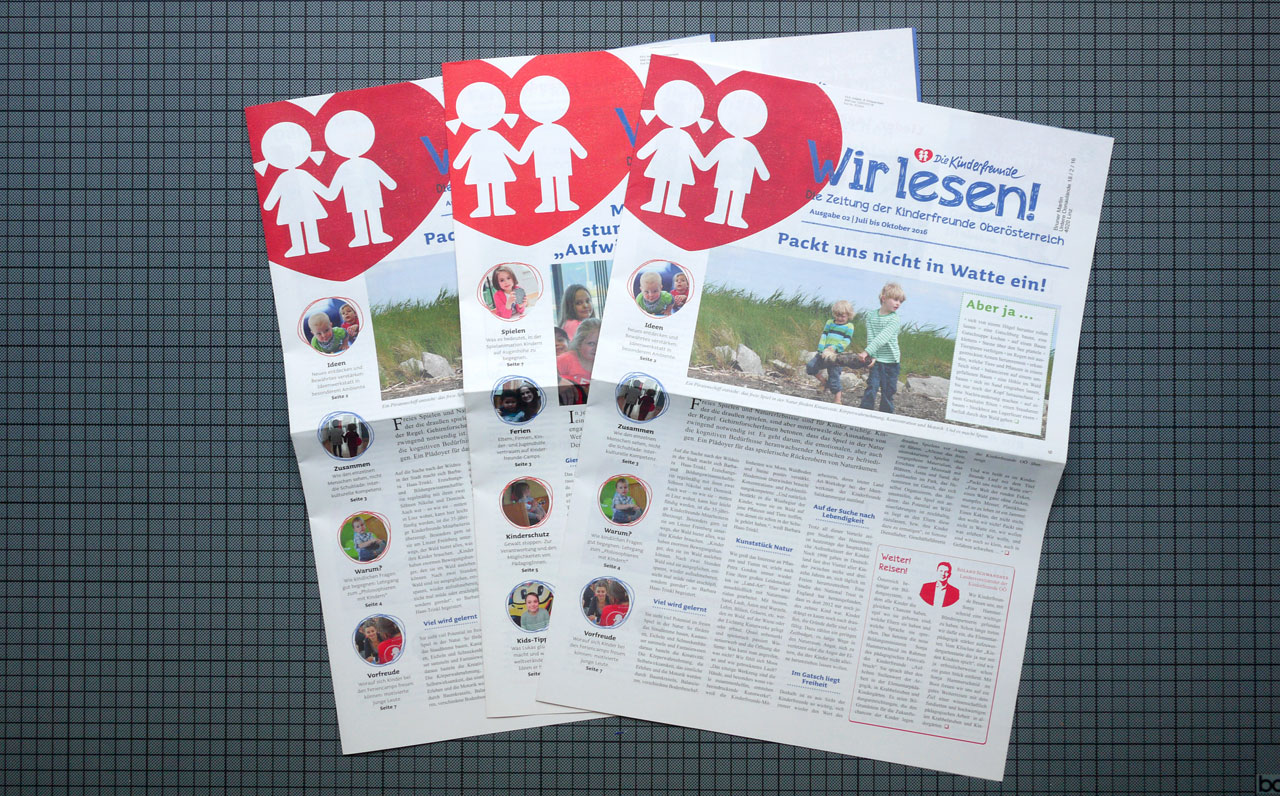 Wir Lesen! Kinderfreunde Oberösterreich – Vereinszeitung © Martin Bruner Sombrero Design