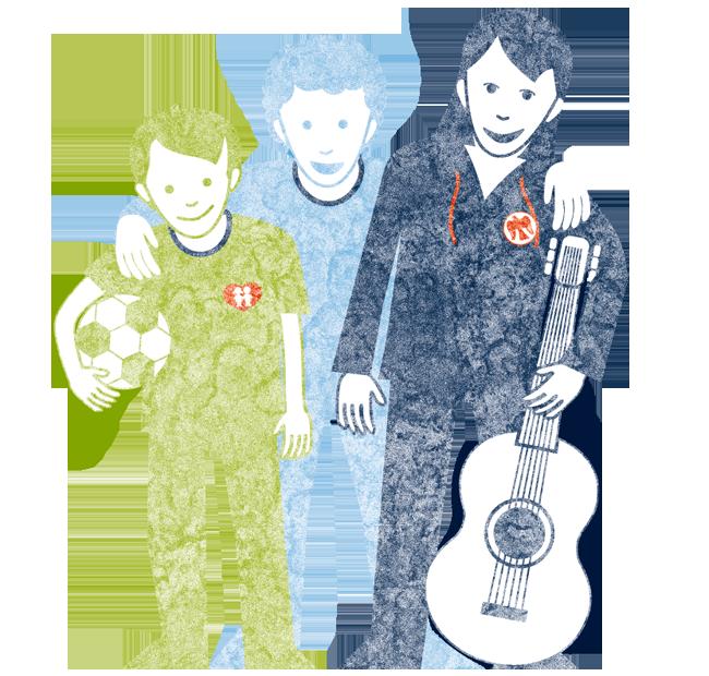 Die Gruppe machts – Illustration – Die Kinderfreunde © Martin Bruner Sombrero Design