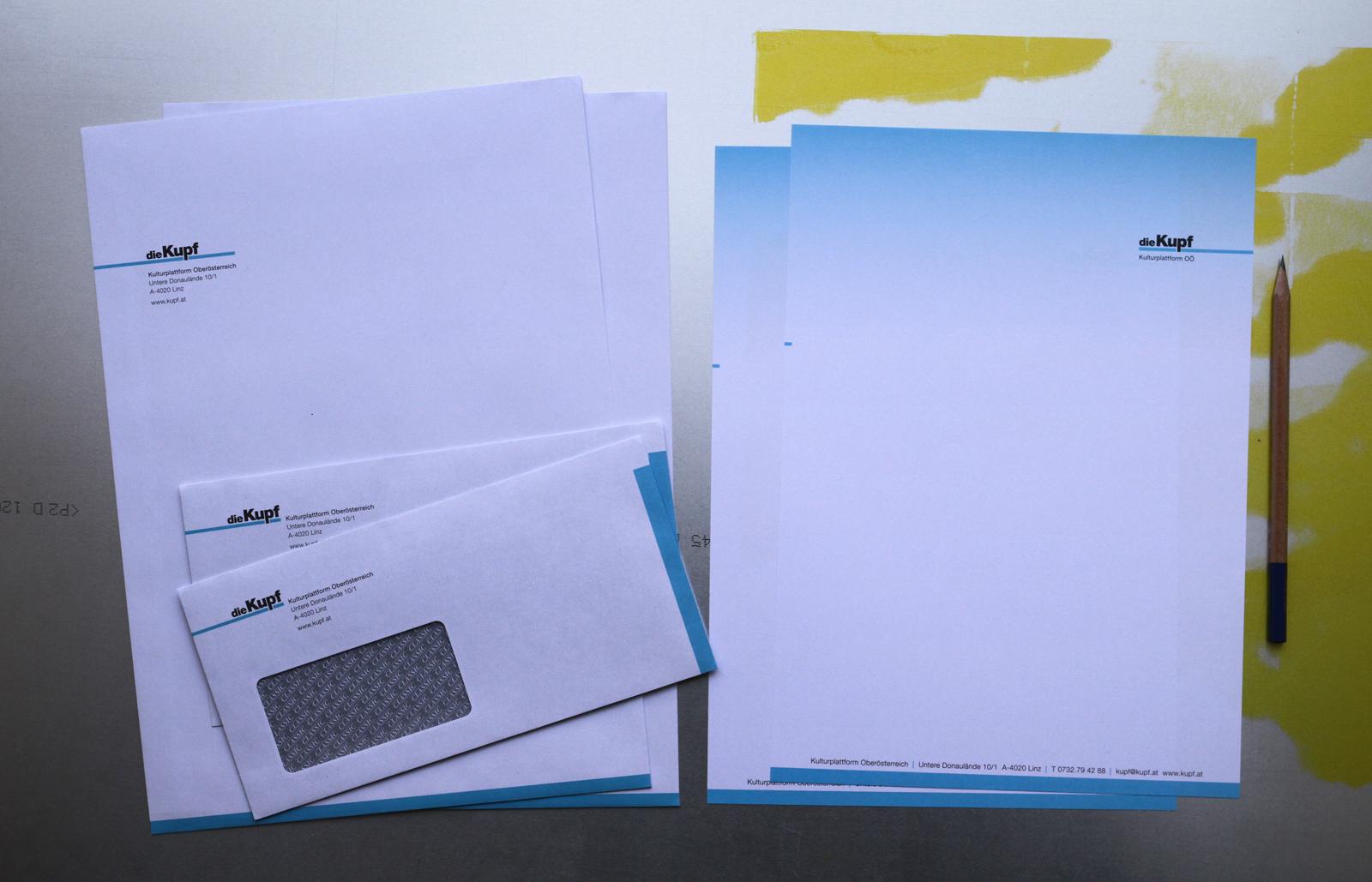 Briefpapier – Kulturplattform Oberösterreich © Martin Bruner Sombrero Design