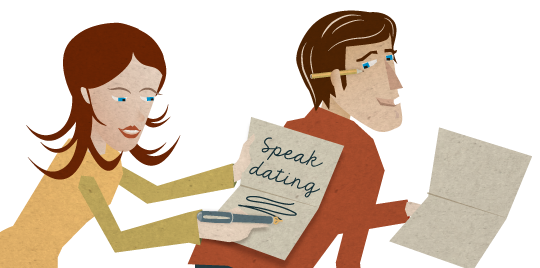 Speak Dating Folder Design and Illustration © Martin Bruner Sombrero Design